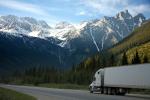 Semi-truck in the mountains.